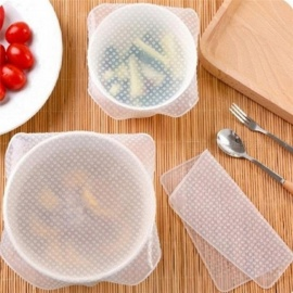 4 Sets of Silicone Food Cling Film Sealed Universal Bowl Cover OPP Bag Packaging Fresh Food Saver Storage Organization Wrap Clear