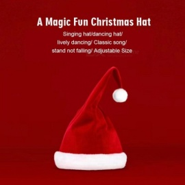 2018 Newest Xiaomi YUJIAN Magical Music Dancing Funny Christmas Hat Singing Dancing Christmas Cap Red&White Color Christmas Hat