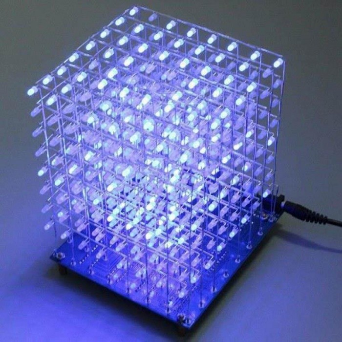 8x8x8 LED Cube 3D Light Square Blue LED Electronic DIY Kit Tempered Ability 4.5~5.5V Power Supply Voltage