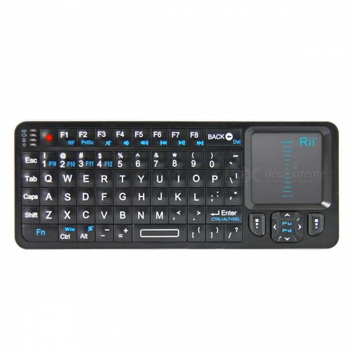 Genuine Rii Mini i6 2.4G Wireless Mini Handheld Keyboard with IR Remote - Black