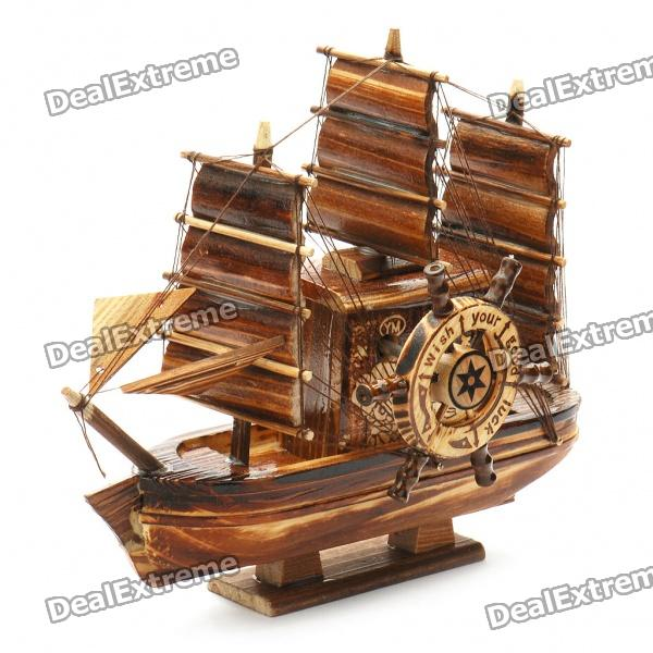 Valentines' Woodcraft 3 Sailing Boat Music Box - Brown