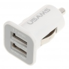 Mini Dual-USB Car Power Charger for IPAD / IPOD / IPHONE - White