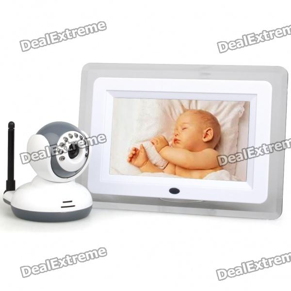 "2.4GHz Wireless 7"" LCD Digital Baby Monitor with Night Vision Surveillance Camera"