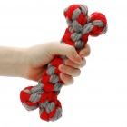 Bone-shaped Cotton Rope Toy for Pet Dog - Red + Grey